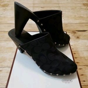 New Coach Felicity Clogs 8 Studded High Heel Mules